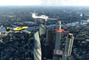 small aircrafts over the city