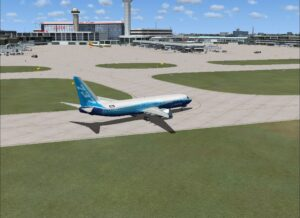 taxing to the airport terminal